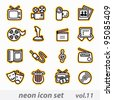neon multimedia computer icon set - stock vector