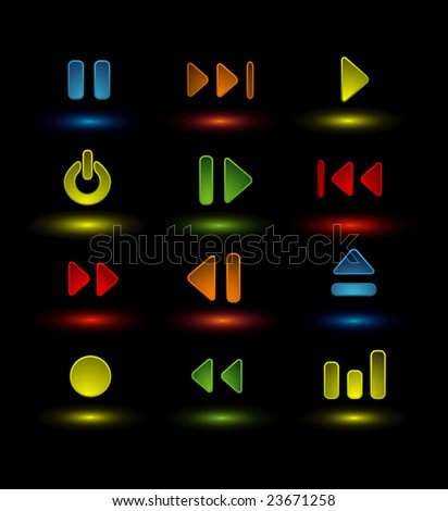 neon music icons - stock vector