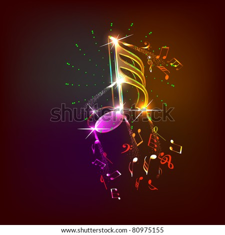 neon music notes - stock vector