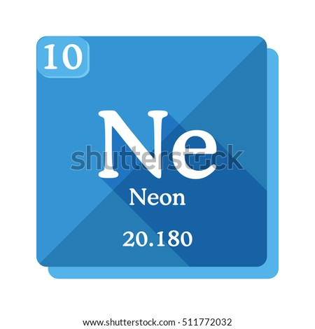 Neon (Ne)   Element Of The Periodic Table. Vector Illustration In Flat Style
