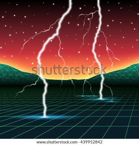 Neon new retro wave landscape with lightning - stock vector