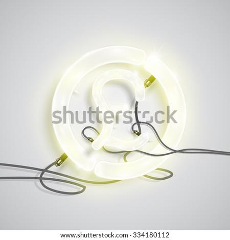 Neon pound sign, vector - stock vector