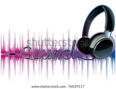 neon pulsing music headphones - stock vector