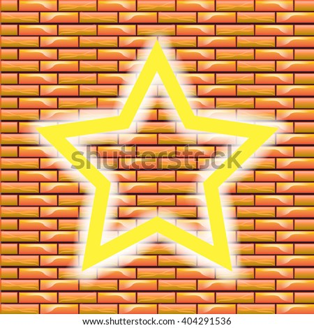 Neon Retro Star. The symbol of the old boom. 3d retro star with a glowing backlight. The yellow star on the brick wall background. Star with a blank background for text. - stock vector