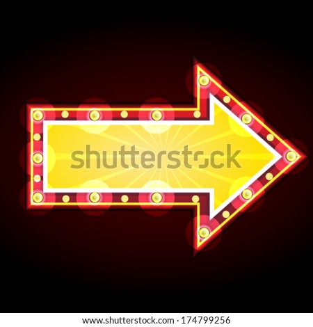 neon sign advertising announcement arrow - stock vector