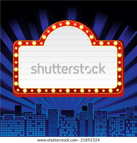 Neon sign at city - stock vector