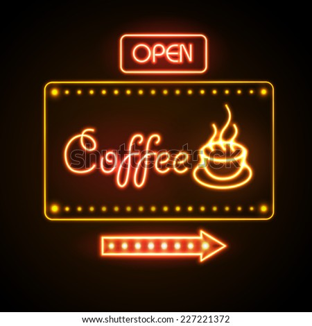 neon sign. Coffee - stock vector