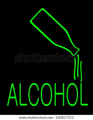 neon sign of alcohol bottle pouring drink - stock vector