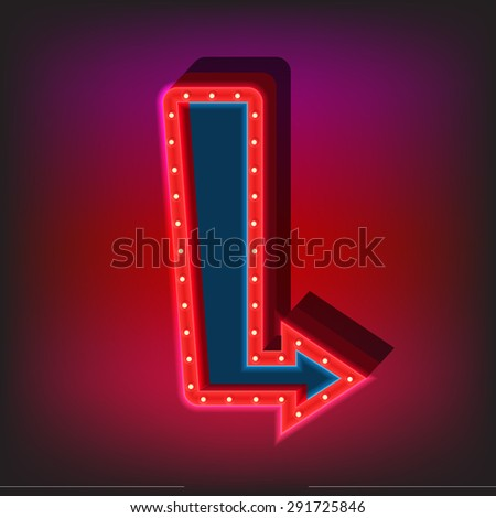 Neon sign template flat style vector illustration. - stock vector