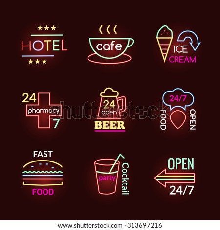 Neon signs of beer pub hotel and pharmacy set isolated vector illustration