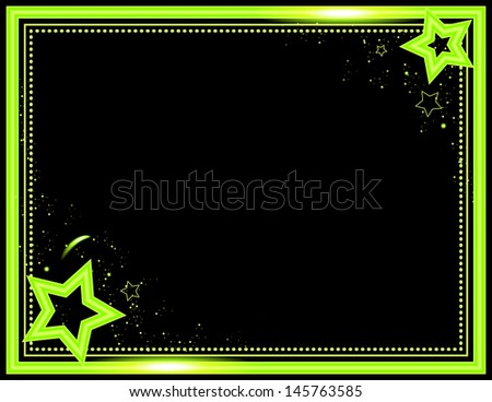 Neon Star Background - Stars and sparkle decorate this neon colored frame background