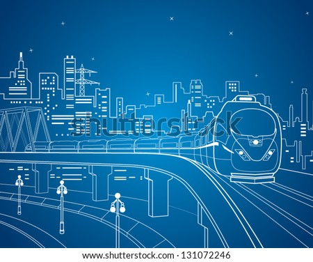 Neon train, vector lines train on the bridge, train on the background of the night city - stock vector