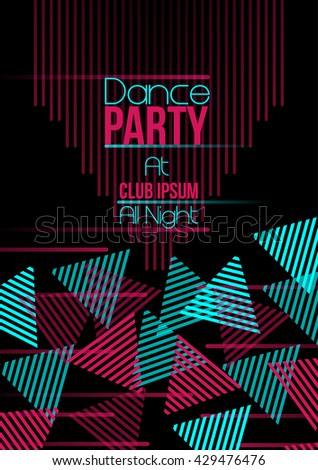 Neon Triangle Retro Dance Party Flyer - Vector Illustration - stock vector