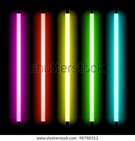 Neon tube light. Vector. - stock vector
