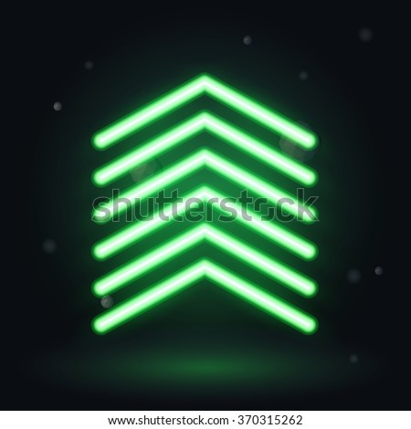 Neon up arrow, vector illusrtration