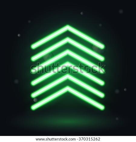 Neon up arrow, vector illusrtration   - stock vector