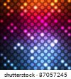 Neon vector dots on dark background - stock photo