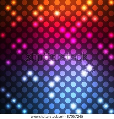 Neon vector dots on dark background - stock vector