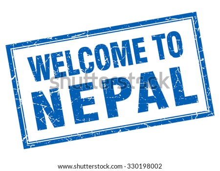 Nepal blue square grunge welcome isolated stamp