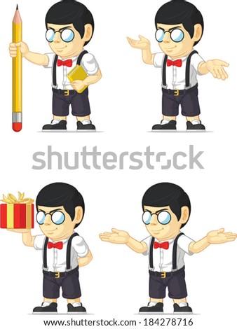 Nerd Boy Customizable Mascot - stock vector