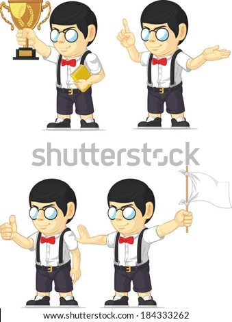 Nerd Boy Customizable Mascot 4 - stock vector