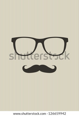 Nerd glasses and mustaches. Vector Illustration - stock vector