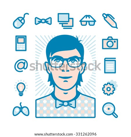 Nerd with Fat Line Icons for web and mobile. Modern minimalistic flat design elements of geeks things and conception of mind shake - stock vector