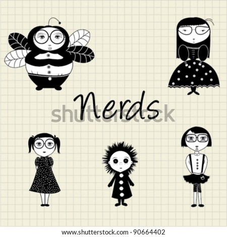 Nerdy characters - stock vector