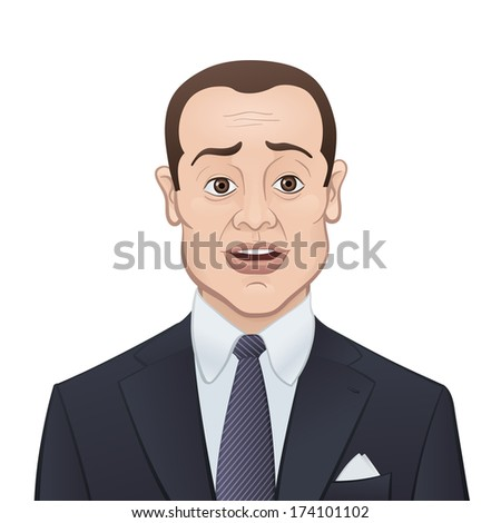 Nervous Businessman in a Suit and Tie Isolated on White Background - Cartoon Character