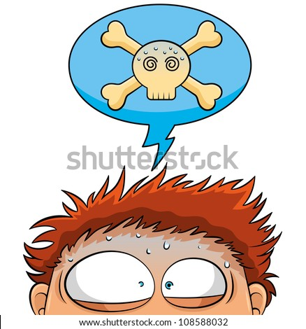 nervous person with a crossbones skull over his head (jpeg version available in my gallery) - stock vector
