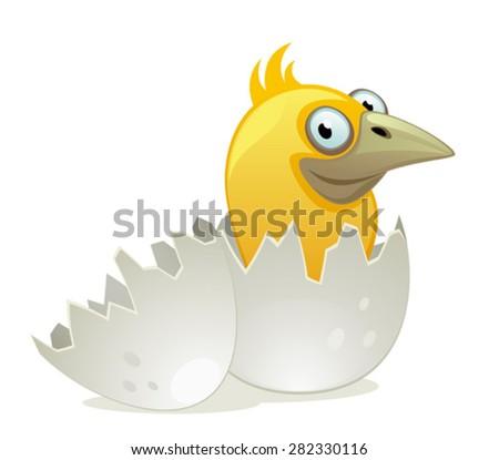 Nestling in egg - stock vector