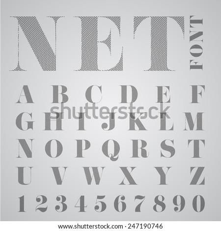 NET alphabet, vector - stock vector