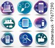 Net cloud computers icons - stock photo