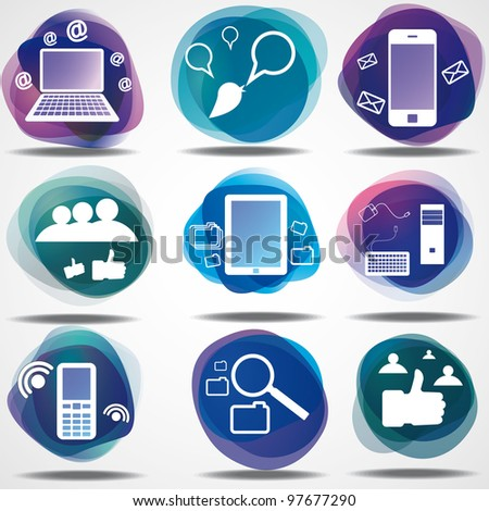 Net cloud computers icons - stock vector