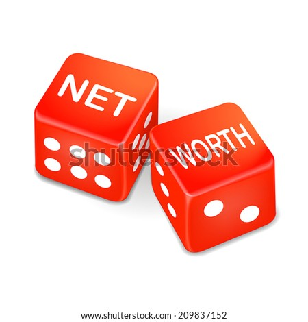 net worth words on two red dice over white background - stock vector