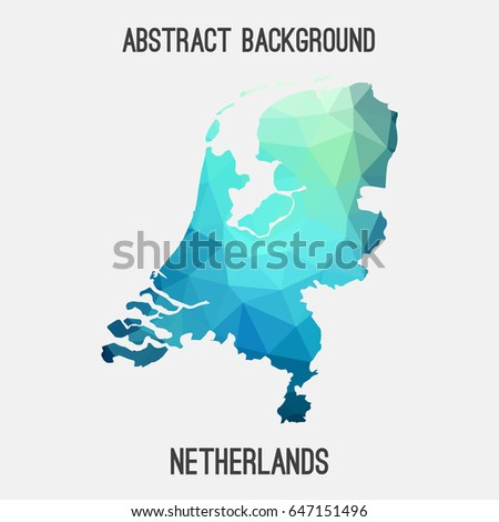 Netherland,Holland map in geometric polygonal,mosaic style in cold shades.Abstract tessellation,modern design background,low poly. Vector illustration.