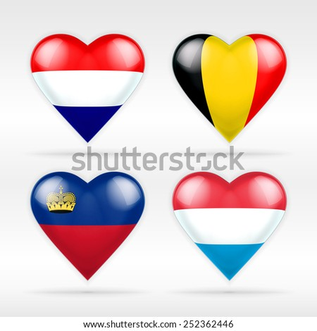 Netherlands, Belgium,  Lichtenstein and Luxembourg heart flag set of European states as collection of isolated vector state flags icon elements on white - stock vector