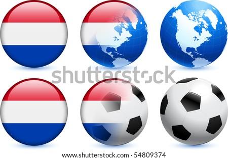 Netherlands Flag Button with Global Soccer Event Original Illustration - stock vector