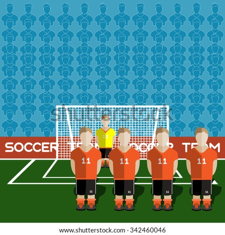 Netherlands Football Club Soccer Players Silhouettes. Computer game Soccer team players big set. Sports infographic. Football Teams in Flat Style. Goalkeeper Standing in a Goal. Vector illustration. - stock vector