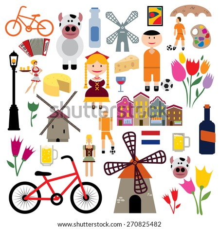 Netherlands Icon Collection, Holland Flag, Wind Mill, Soccer, Bicycle, Cheese (Vector Art)  - stock vector
