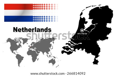 Netherlands info graphic with flag , location in world map, Map and the capital ,Amsterdam, location.(EPS10 Separate part by part) - stock vector