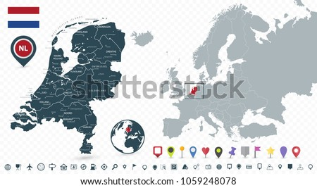 Netherlands Map Netherlands Location On Europe Stock Vector 2018
