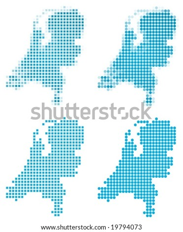 Netherlands map mosaic set. Isolated on white background. - stock vector