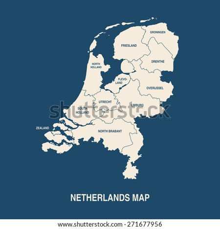 NETHERLANDS MAP with regions flat design illustration vector  - stock vector