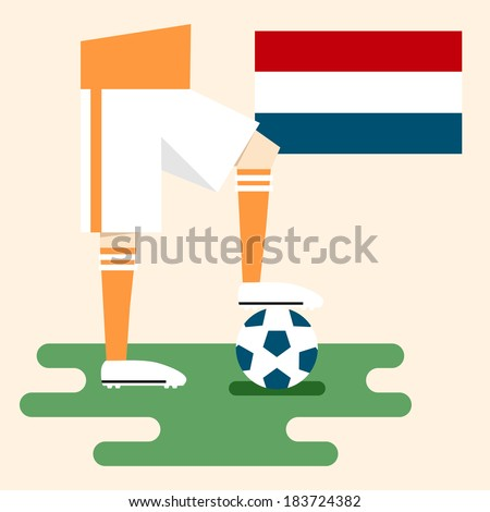 Netherlands, national soccer uniform and flag, flat design - stock vector