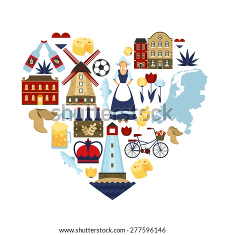 Netherlands travel symbols and dutch landmarks in heart shape flat vector illustration