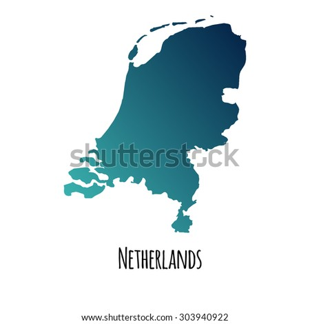 Netherlands vector map with color gradient and caption on white background. Can be used as element of your infographics or presentation - stock vector