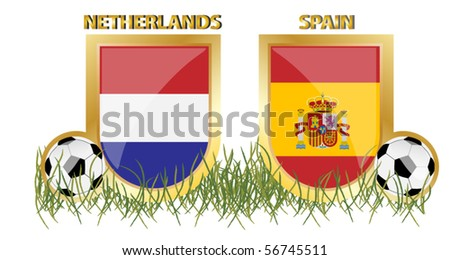 netherlands vs spain - stock vector