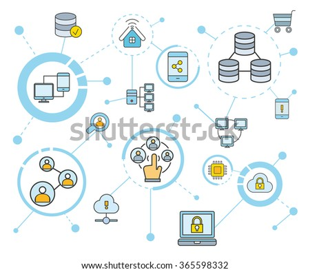 network and communication concept, technology connection, data concept, data analytics - stock vector