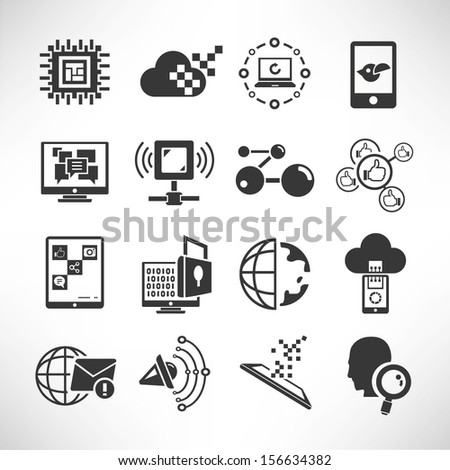 network and communication icons set - stock vector